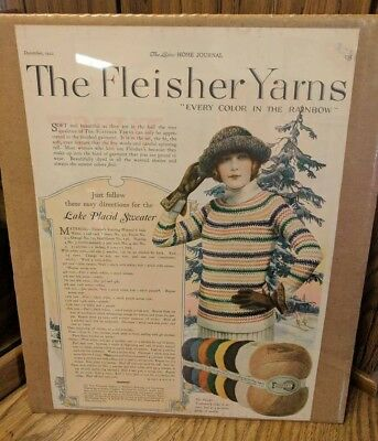 Vintage Fleisher Yarns 1922 w/Lake Placid Sweater Directions Paper Advertisement