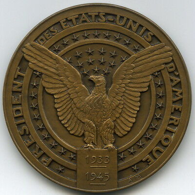 1933-1945 Franklin D. Roosevelt French Inaugural Medal, 4th Term by Anie Mouroux