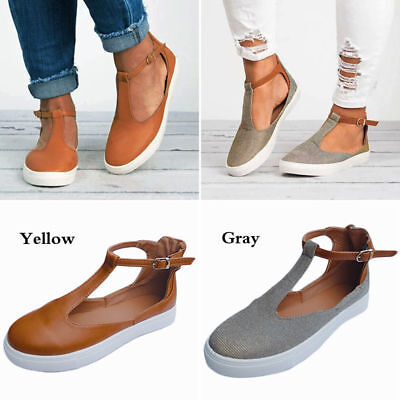 Womens Round Pumps Toe Ankle Strap Loafers Cut Out Flat Footwear Shoes Sneakers