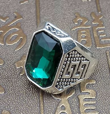 Chinese Exquisite Tibetan silver Inlaid Emerald Fashion Ring