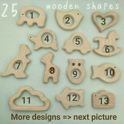 Beech Wooden Shape wood Teether teething ring animal organic soother toys baby