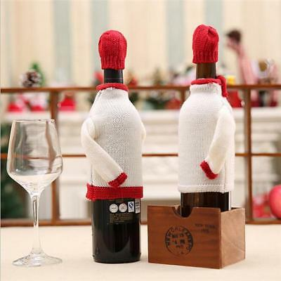 Christmas Knit Wine Bottle Cover Sweater Matching Hat for Xam Party Decoration G