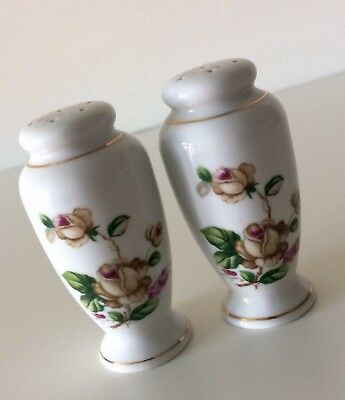 Vintage Lynmore GOLDEN ROSE Salt and Pepper Shakers Fine China Of Japan EXC