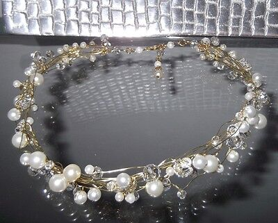 HANDCRAFTED PEARL CRYSTAL CHOKER NECKLACE, WHITE or IVORY colors, NEW, AUSTRALIA