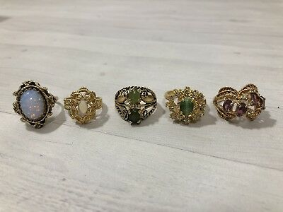 Vintage lot 18kt HGE electroplate cocktail dinner party gold women's rings