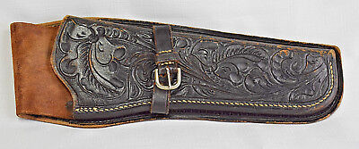 Vintage MEXICAN Hand Tooled LEATHER 45 Caliber Pistol Gun HOLSTER