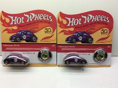 NEW Hot Wheels 50th Anniversary Originals Redlines  Set of 2 Volkswagen Beetle