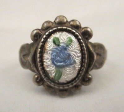 Vtg Antique Art Deco Sterling Silver Marked Blue Guilloche Rose Flower Ring Sz 6