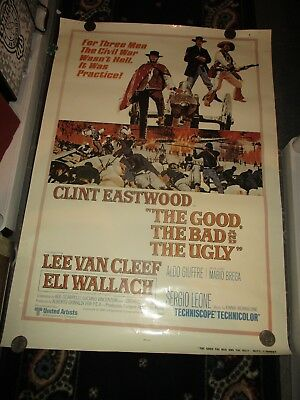 Vintage Movie Poster Clint Eastwood The GOOD,BAD,& UGLY 1980 United Art  (27x41)