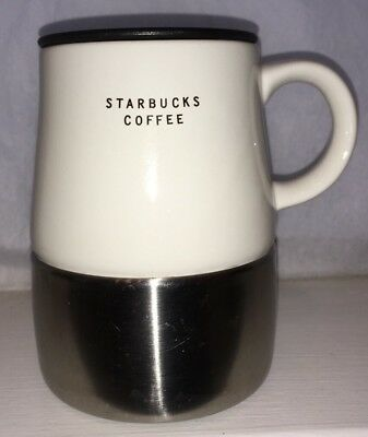 Starbucks 2004 White Ceramic Stainless Steel Travel Mug Cup With Lid Nice Mug!