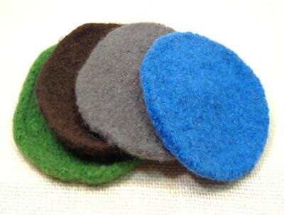 4 Felted Wool Coasters Handmade In Botswana, Blue, Brown, Green, And Gray