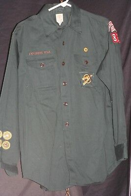 Dark green boy scouts of america long sleeve button up collared shirt lot # 16
