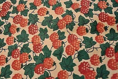 "Vintage Cotton Fabric Waverly  56"" x 22"" Strawberries Quilt Sewing Crafts"