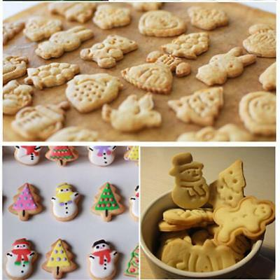 4Pcs/Set Xmas Cookie Biscuit Plunger Cutter Fondant Cake Mold Baking Tool Mold G