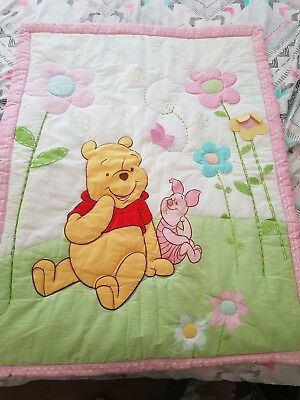 Pooh Bear Nursery Cot Set includes cot bumper set and valance