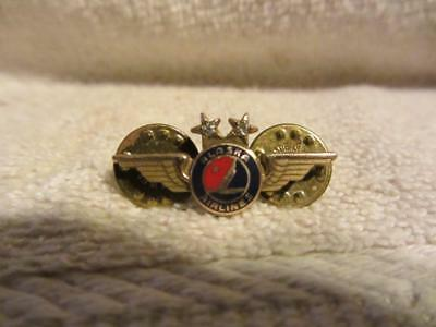 Alaska Airline Wings Service Pin with 2 Diamonds pin is marked 1/10th 10K