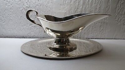 STERLING SILVER MEXICAN SOLID GRAVY / SAUCE BOAT & TRAY by J. TORRES