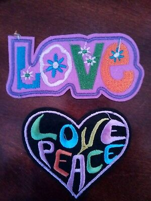 """(2) LOVE & Peace Embroidered  Patches PATCH LOT appx 4 x 2 & 3 x 3"""""""