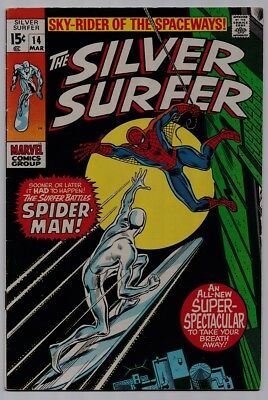 Silver Surfer #14 - Marvel - Silver Age 1970 (Spider-Man Appearance)