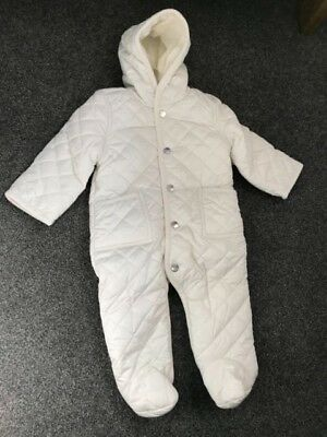 new infant white bunting snowsuit - 9 months