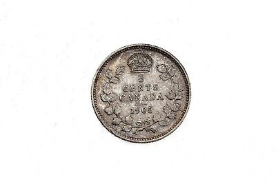 1905 Canada Five Cents 5C AU+ About Uncirculated Silver Coin KM#13 2E13