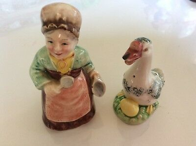 Vintage Lady And Goose Salt And Pepper Shakers,so Cute!