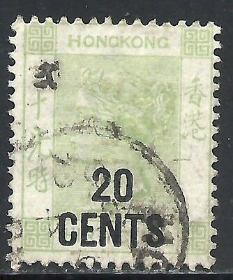 HONG KONG SCOTT 61 USED FINE (B) - 1891 20c on 30c YELLOW GREEN - QUEEN VICTORIA