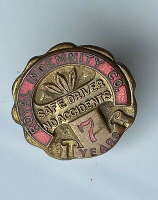 Old Vintage Safe Driving Award Lapel Pin, From Royal Indemnity Company