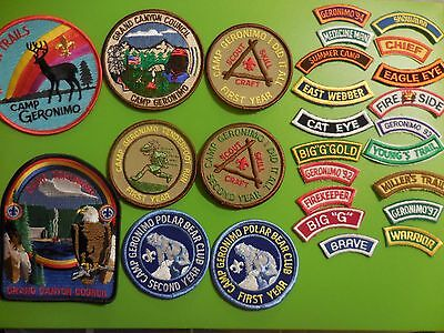Lot of 27 Vintage 1990's Boy Scout Iron-On Patches Camp Geronimo Collectible