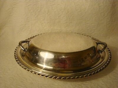 Vtg Unmarked Silverplate Oval Covered Serving Dish W/Two handles