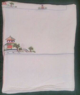 Vintage White Linen 68 x 80  Tablecloth Needlepoint Cross Stitch Chinese Large