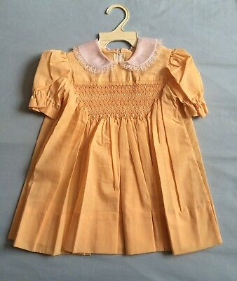 Vintage Handmade Girls Summer Dress Size 2 Apricot Cotton Wedding Flower Girl