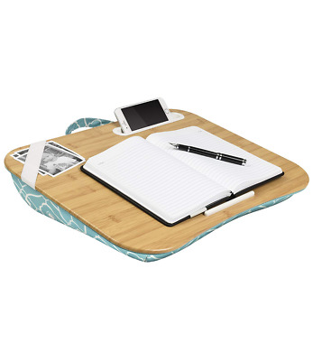 "Lap Desk Pillow Fits up to 17.3"" Laptop with Cell Phone Media Slot in Aqua"