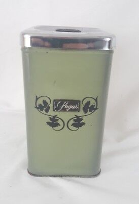 Vintage 60s Avacado  Green Kitchen Sugar Tin Canister Container Canada Rust