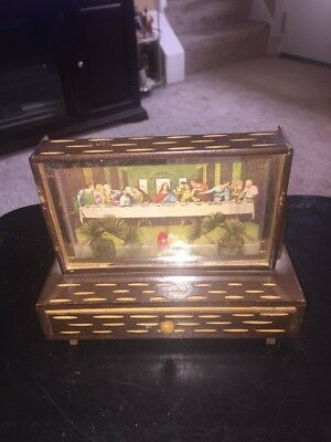 Vintage Religious Last Supper Photo in a Wood Shadow Box Made in Japan (RARE)
