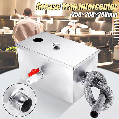 8LB 5GPM Stainless Steel Grease Trap Interceptor Thickened Kitchen Wastewater