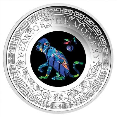 2016 Australian Opal Lunar Series Monkey Silver Proof Coin ( sold out at mint )