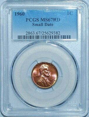 1960 PCGS MS67RD Red Small Date Lincoln Cent Tied For Finest Registry