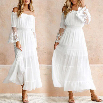 Women Summer Boho Lace Long Maxi Dress Evening Cocktail Party Beach DressesPB