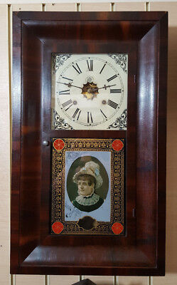 Vintage Waterbury Weight Driven 8 Day Wall Clock with Glass Tablet & Strike