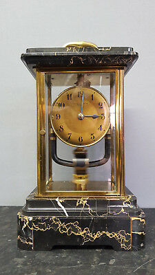 Vintage Bulle Clockette Electro-Magnetic Variegated Marble & Brass Mantle Clock