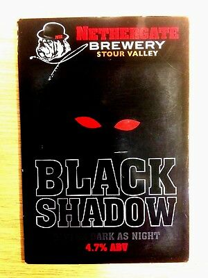 Black Shadow Stout Ale Beer Pump Clip Nethergate Brewery