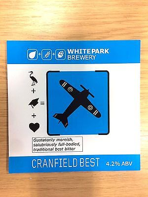 Cranfield Best Beer Pump Clip: White Park Brewery Bedfordshire Military Aircraft