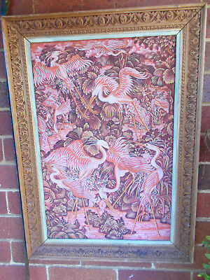 1960s VINTAGE FABRIC TEXTURE ART PAINTING PINK FLAMINGO ORNATE WOOD FRAME SIGNED