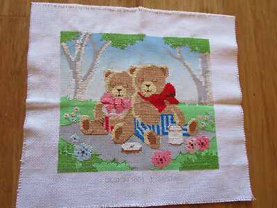 Target Brand All But Completed Cross Stitch 2 Bears Having A Siesta