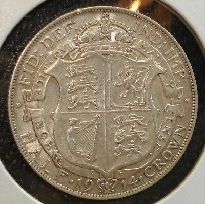 Silver British 1914 Half Crown