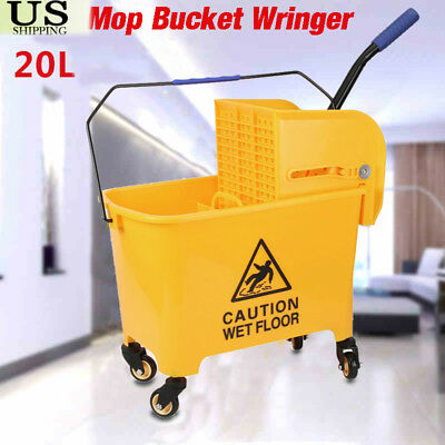 21 Quart Commercial Wet Mop Bucket & Wringer Combo Yellow Janitorial NEW