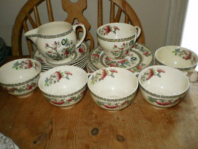 Johnson Bros Indian Tree 6 Plates,cups & Saucers & Jug