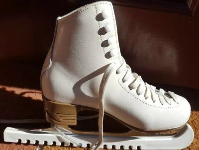 Risport ladies size 250 Leather Ice Skates with blade protectors.