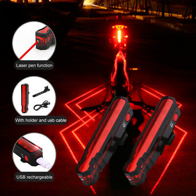 Bicycle Bike Cycling LED Laser Taillilght Safety Warning Tail Lights Rear Lamp